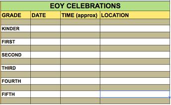 EOY CLASSROOM CELEBRATIONS