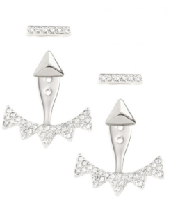 Pave Triangle Ear Jacket - Silver