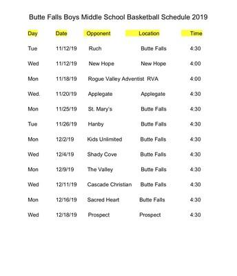 Middle School Boys Basketball Schedule