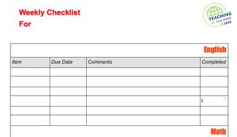 Weekly Checklist