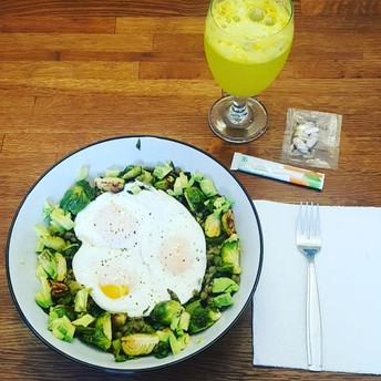 Lentils, Brussel Sprouts and Eggs (recipe by Gretchen Ludwig)