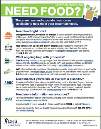 NeedFood.Oregon.Gov~Listing of Community Food Resources