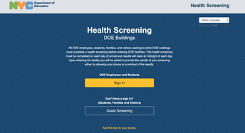 STUDENT HEALTH SCREENING FOR IN PERSON ATTENDANCE