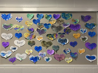 Pre K wall of hearts