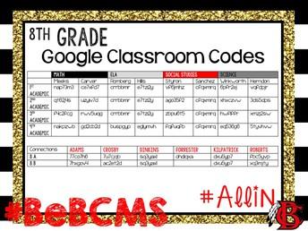 8th grade google classroom codes