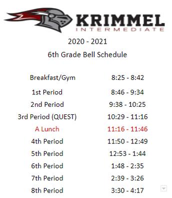 6th Grade Bell Schedule