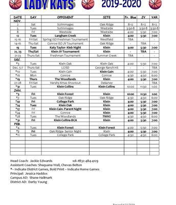 Girls Basketball Schedule 19 - 20