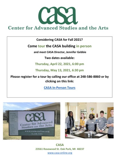 Visit CASA for in-person tour!