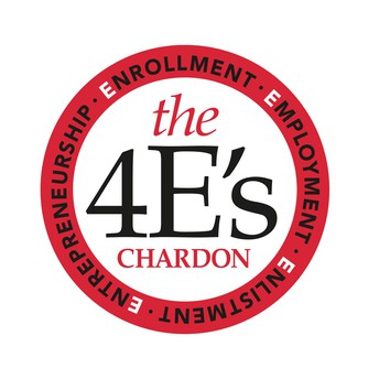 Chardon High School's 4E's:  Enlistment, Entrepreneurship, Enrollment, and Employment.
