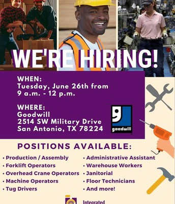 Goodwill Is Hiring! Save the Date! June 26th!