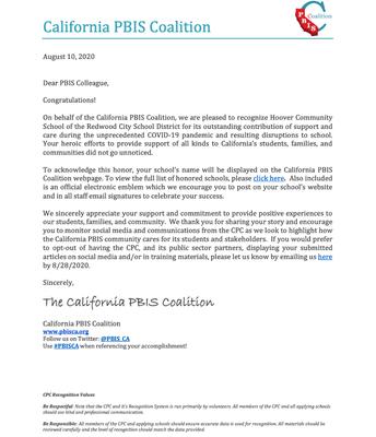 PBIS Community Cares letter!