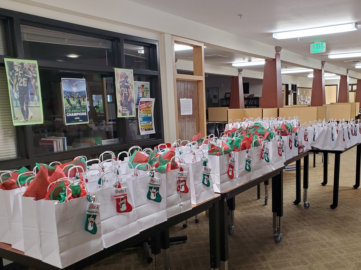 Photo of holiday gift bags for students