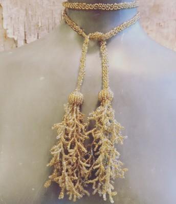 Gold Bead Lariat $65