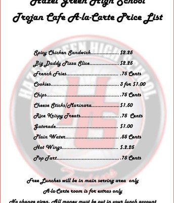 Trojan Cafe Price List