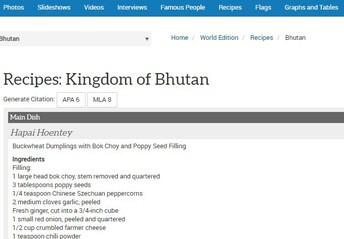 Recipe Example for Bhutan