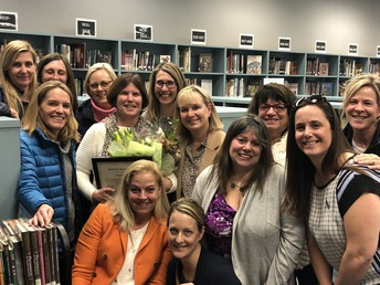 Celebrating at the March Board Meeting HVE's 2018-2019 Teacher of the Year: Cindy Fisher!