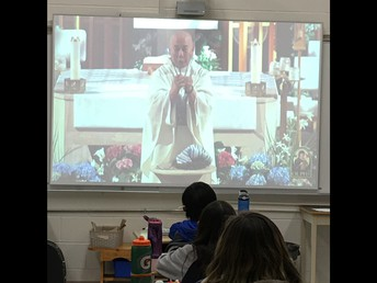 4P watching the virtual Easter mass.