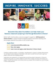 2017-2018 BEF Beaverton's Choice Grants