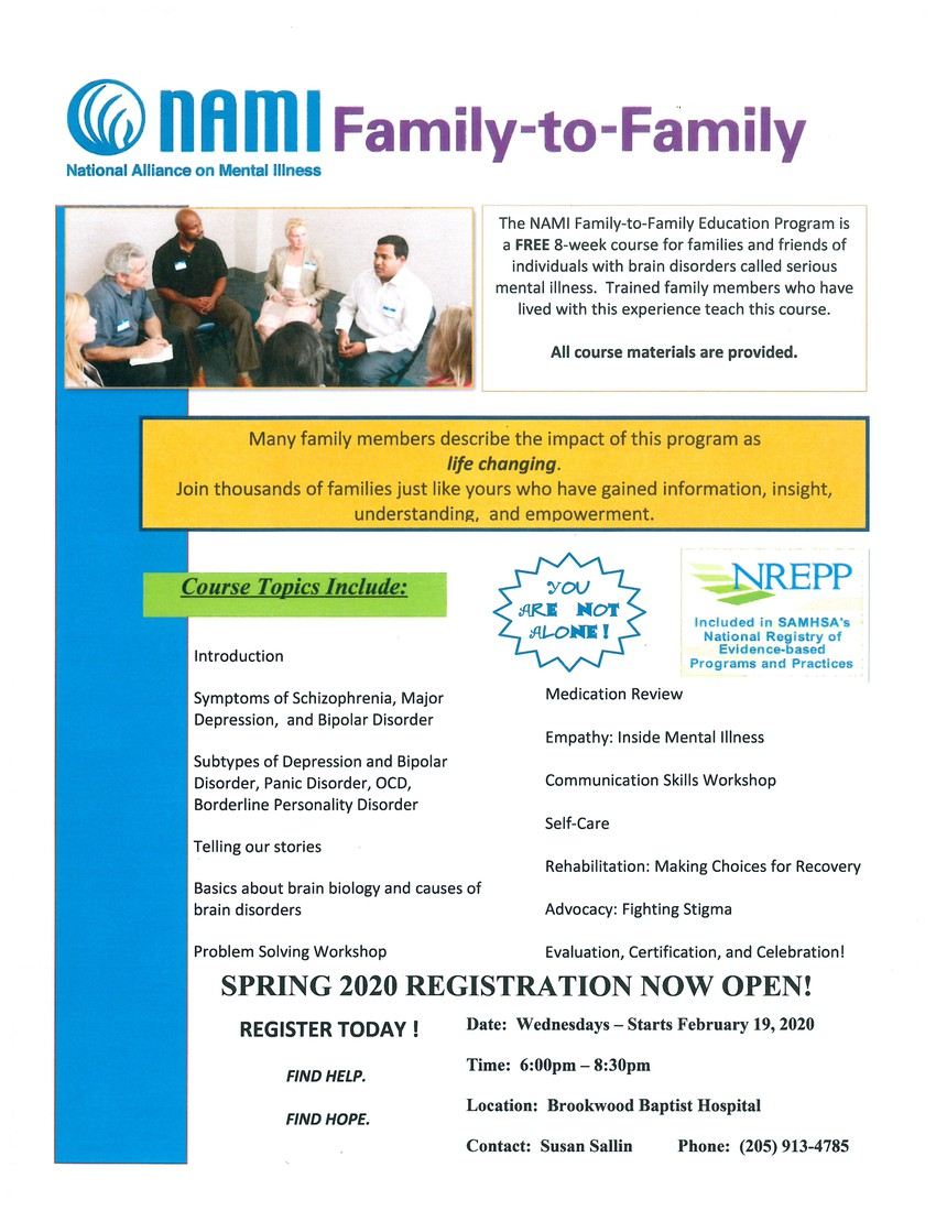 NAMI Family to Family Program contact Susan Sallin for information
