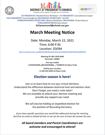 District 27 President's Council March Meeting