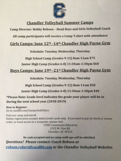 CHS Volleyball Camp Flyer