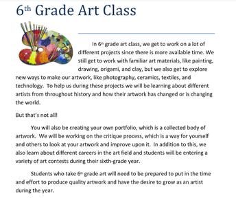 Art Info from Mrs. Morrow