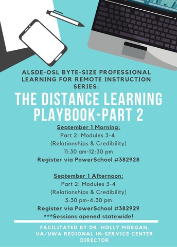 ALSDE-OSL Byte-Sized Professional Learning: The Distance Learning Playbook