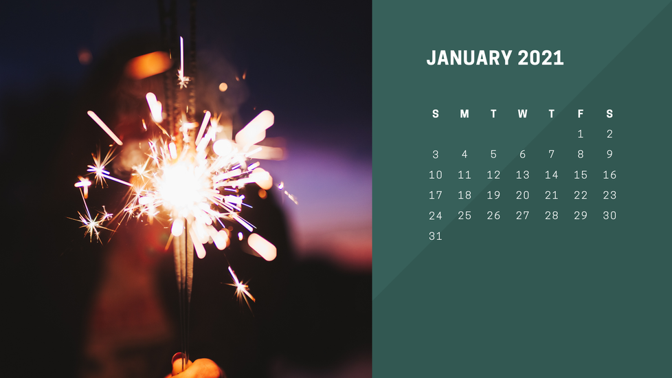 On the left, a lit sparkler sends bright sparkles in all directions. On the right, the days of January are shown with white text on a green background.