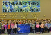 Kindergarten Friends with our Blue Ribbon Banner!