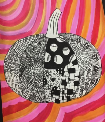 "5th grade ""Zentangle Pumpkins"""