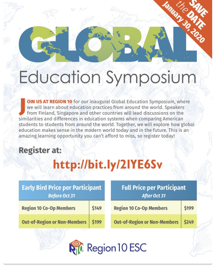 Flyer for the Region 10 Global Education Symposium on January 30, 2020 at Region 10