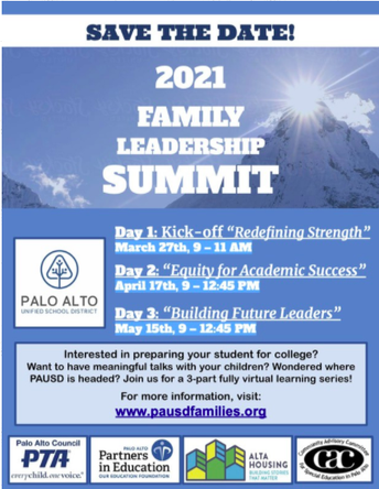 Today is the PAUSD Family Leadership Summit - April 17
