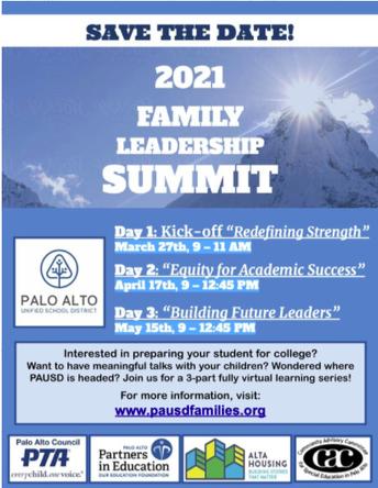 PAUSD Family Leadership Summit - April 17
