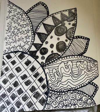 Black & White zen drawing of a flower