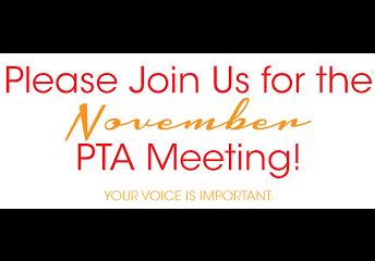 PTA Meeting: Wednesday, November 7th @ 7:00 pm