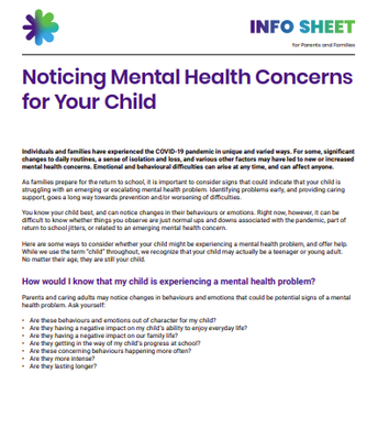 Noticing Mental Health Concerns for Your Child