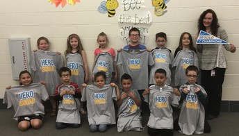 "Our top fundraisers were presented with ""Hero Squad"" t-shirts from Pennies for Patients. Again, we would like to thank everyone for giving!"