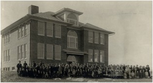 Historic black and white photo of Linville-Edom School