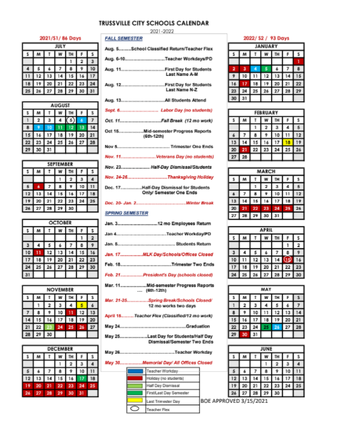 screenshot of next year's school calendar