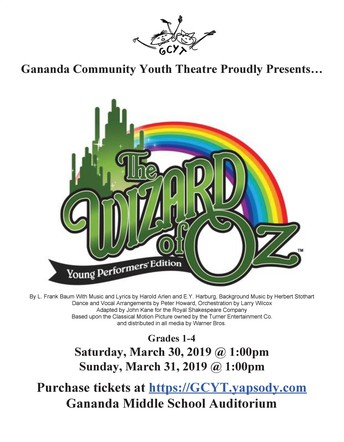 Gananda Community Youth Theatre presents the Wizard of Oz