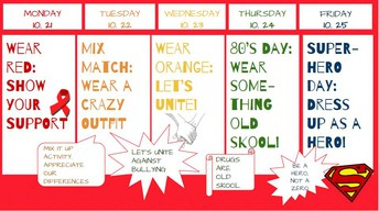 Our RED RIBBON/ANTI-BULLYING Week is coming up October 21st-25th. Please prepare for an amazing week of spirit and activities!