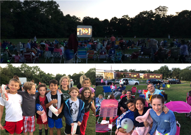 Glenville students and families gather for a movie night at Glenville School
