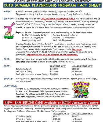 2018 Summer Playground Fact Sheet