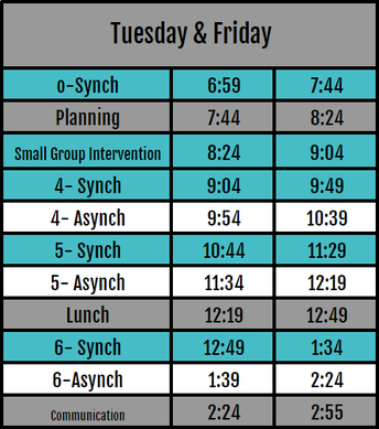 Tuesday and Friday Schedule- Intervention Available