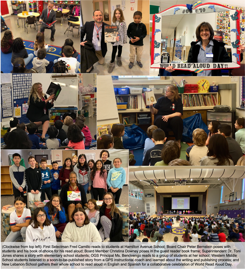A collage of students and their guest readers celebrating World Read Aloud Day on February 5, 2020.
