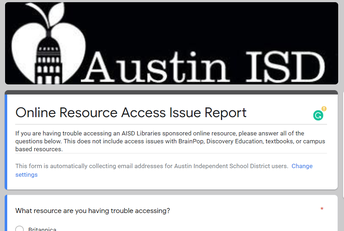 Online Resource Access Issue Report