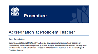 Accreditation at Proficient Teacher