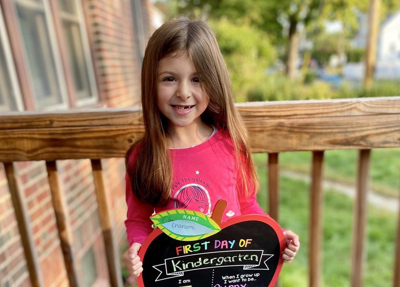 Charlotte Cordeira on her first day of Kindergarten