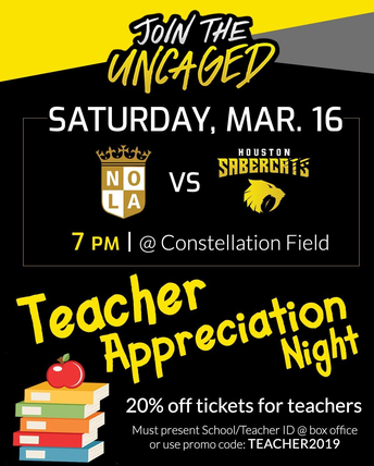 Houston Sabercats Teacher Appreciation Night on Saturday, March 16