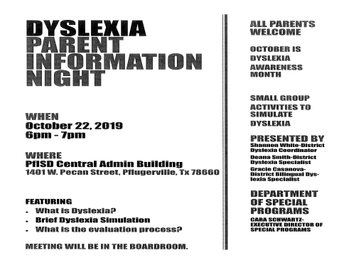 Dyslexia Parent Information Night - October 22